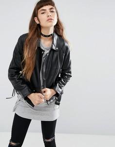 Кожаная байкерская куртка со шнуровкой ASOS - Черный