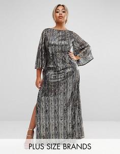 Платье макси с рукавами-кимоно и отделкой Lovedrobe Luxe - Золотой