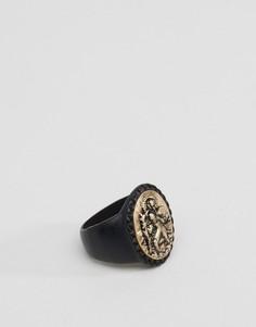 Черное массивное кольцо-печатка Icon Brand - Черный