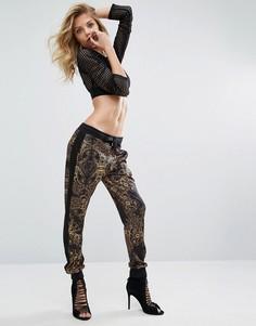 Спортивные штаны с цифровым принтом в стиле барокко Versace Jeans - Черный