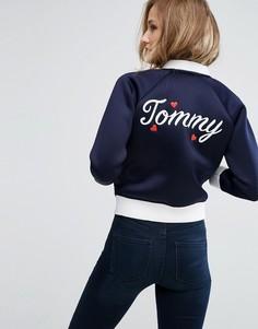 Бомбер с логотипом на спине Tommy Hilfiger - Темно-синий