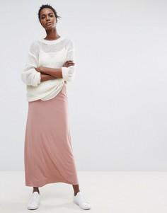 Длинная юбка макси Selected - Розовый
