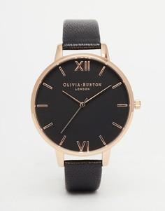 Позолоченные часы с большим черным циферблатом Olivia Burton - Черный