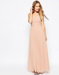 Платье макси с присборенной вставкой ASOS WEDDING - Розовый