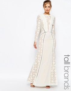 Платье макси с длинными рукавами и кружевными вставками Jarlo Tall - Кремовый