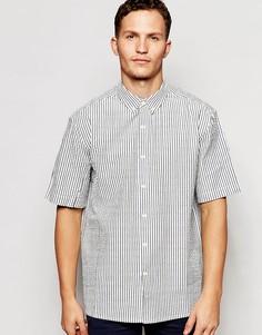 Рубашка в полоску из ткани сирсакер с короткими рукавами ADPT Co-ord - Белый