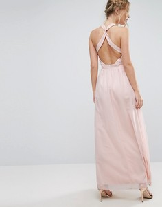 Платье макси с высокой горловиной и открытой спиной Little Mistress - Мульти