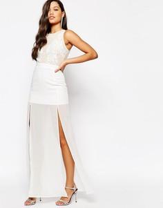 Платье макси с отделкой на топе Missguided Premium - Кремовый