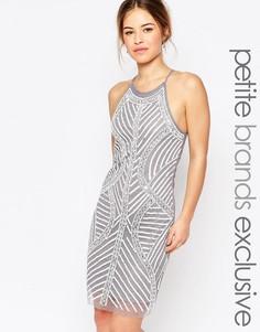 Цельнокройное платье на бретельках с декоративной отделкой True Decadence Petite - Серый