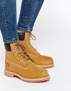 Бежевые ботинки со шнурками Timberland Premium 6 - Бежевый