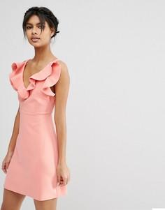 Структурированное платье‑трапеция мини с оборкой ASOS - Красный