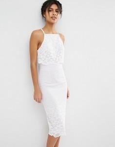 Платье миди с укороченным топом и цветочным рисунком ASOS - Кремовый