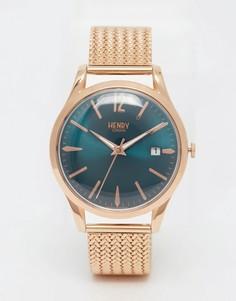 Золотые наручные часы с плетеным дизайном ремешка Henry London Stratford - Золотой