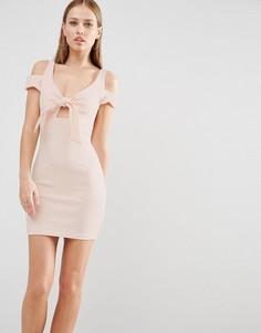 Облегающее платье мини с бантом Oh My Love - Розовый