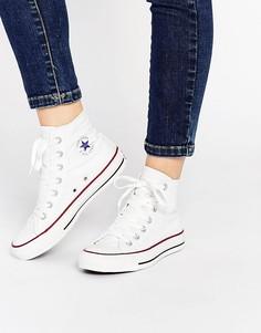Женские высокие белые кроссовки Converse All Star - Белый