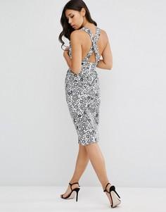 Платье-футляр с перекрестной спинкой и цветочным принтом ASOS - Серый