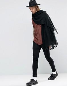 Черный тканый шарф‑накидка ASOS - Черный