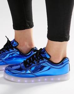 Ярко-синие кроссовки со светящейся подошвой Wize & Ope - Синий