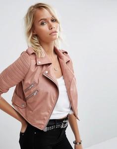 Байкерская куртка из искусственной замши ASOS - Розовый
