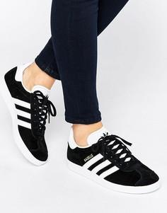 Женские черные замшевые кроссовки унисекс adidas Originals Gazelle - Черный