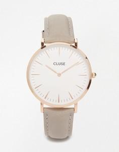 Часы с серым кожаным ремешком и розово-золотистым корпусом CLUSE La Boheme CL18015 - Серый