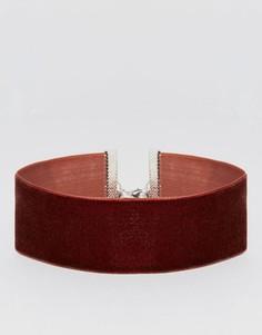 Широкое бархатное ожерелье‑чокер ASOS - Коричневый