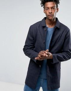 Фактурный шерстяной макинтош Selected Homme - Темно-синий