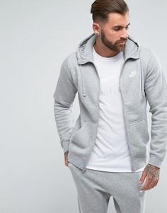 Серое худи на молнии с логотипом Nike 804389-063 - Серый