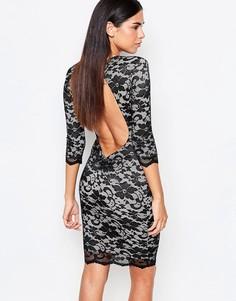 Облегающее кружевное платье с рукавами 3/4 Honor Gold - Черный