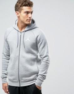 Худи серого цвета на молнии Nike Jordan Jumpman Flight 823064-063 - Серый