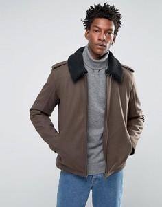 Шерстяная куртка с воротником борг Selected Homme - Зеленый
