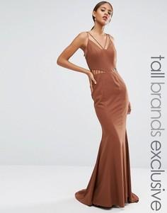 Платье макси с вырезами на талии и лямками Jarlo Tall - Коричневый