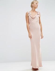 Атласное платье макси ASOS WEDDING - Розовый