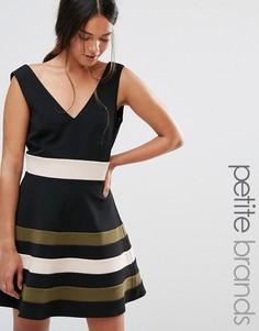 Платье для выпускного без рукавов с полосками на юбке Paper Dolls Petite - Черный