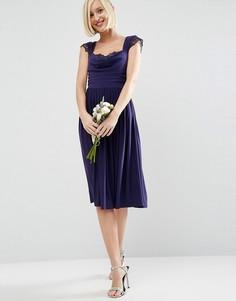 Платье миди с кружевной вставкой и драпировкой ASOS WEDDING - Темно-синий