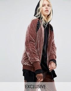 Велюровая свободная куртка-пилот со шнуровкой Story Of Lola - Розовый