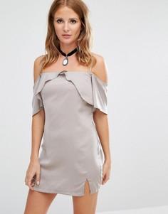 Платье-комбинация с вырезами на плечах Millie Mackintosh - Серебряный