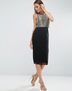 Платье миди с золотистой отделкой топа ASOS - Золотой