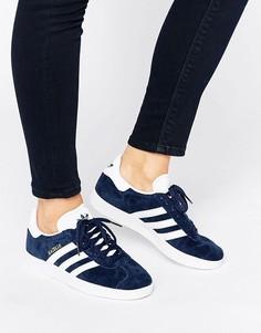 Женские темно-синие замшевые кроссовки adidas Originals Gazelle Unisex - Темно-синий