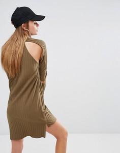 Трикотажное платье в рубчик с открытыми плечами First Base - Зеленый