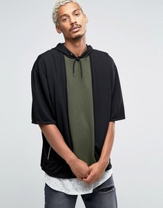 Свободное худи с короткими рукавами ASOS - Черный