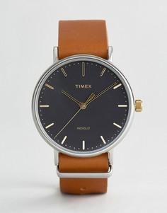 Часы с коричневым кожаным ремешком 41 мм Timex Weekender Fairfield - Коричневый