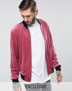 Бархатный бомбер Reclaimed Vintage - Розовый