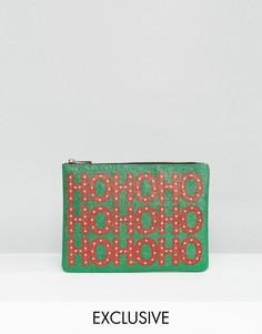 Эксклюзивный блестящий клатч с новогодним дизайном Valery - Зеленый