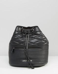 Стеганый рюкзак с затягивающимся шнурком Armani Jeans - Черный