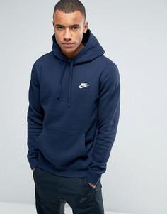 Худи синего цвета с логотипом-галочкой Nike 804346-451 - Синий