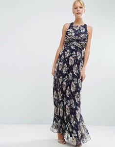 Плиссированное платье макси с цветочным принтом в винтажном стиле ASOS WEDDING - Мульти