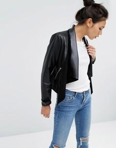 Кожаная куртка с каскадной драпировкой ASOS - Черный