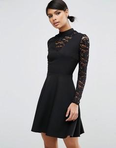 Короткое приталенное платье с высокой горловиной и кружевными вставками ASOS - Черный