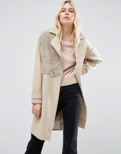 Пальто в байкерском стиле с отделкой борг ASOS - Светло-серый